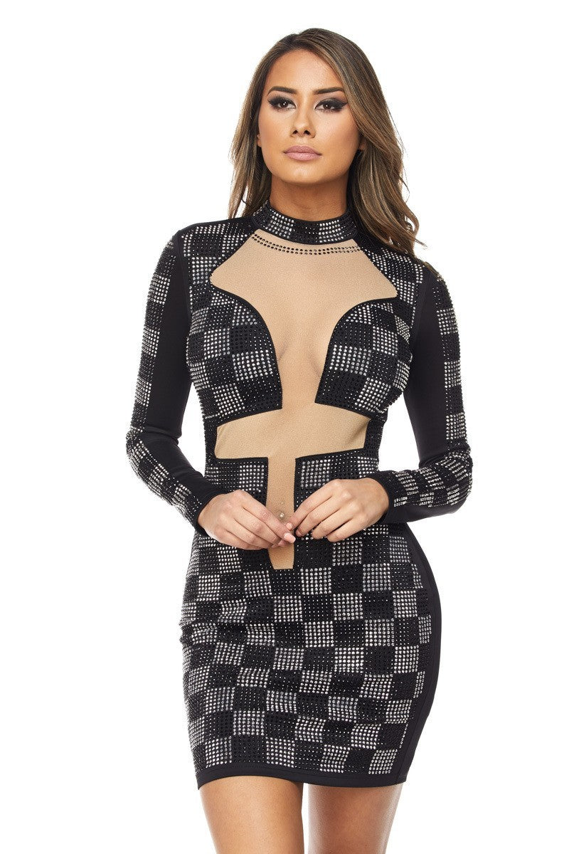 Checkered Rhinestone Mesh Dress - steven wick