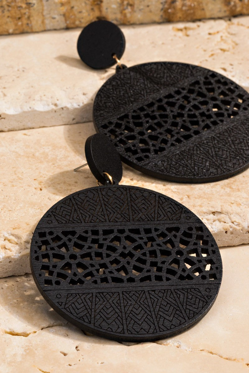 Filigree Laser Cut Wood Circle Earrings - STEVEN WICK