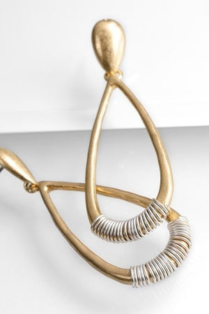 Wire Wrap Gold Accent Drop Earrings - STEVEN WICK