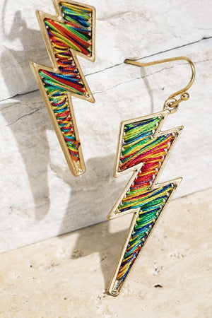 Multi-Color Fine Thread Lightning Bolt Fish Hook Dangle Earrings - STEVEN WICK