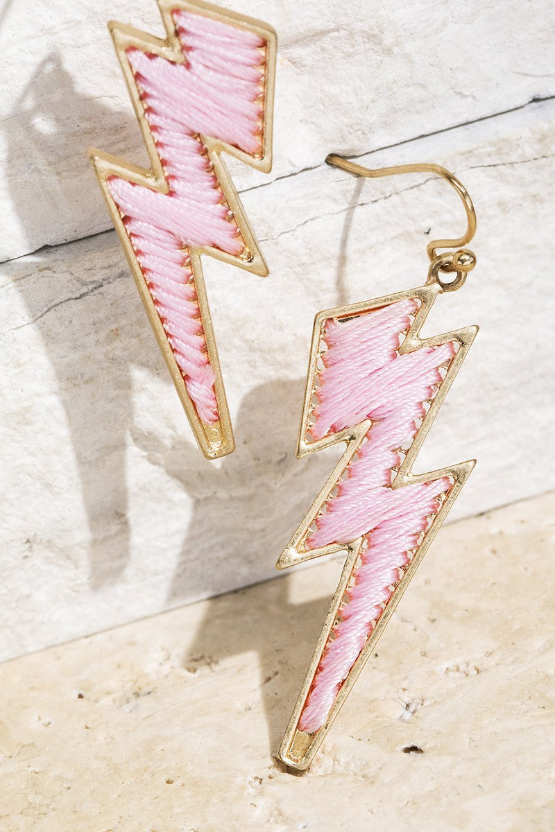 Pink Fine Thread Lightning Bolt Fish Hook Dangle Earrings - STEVEN WICK