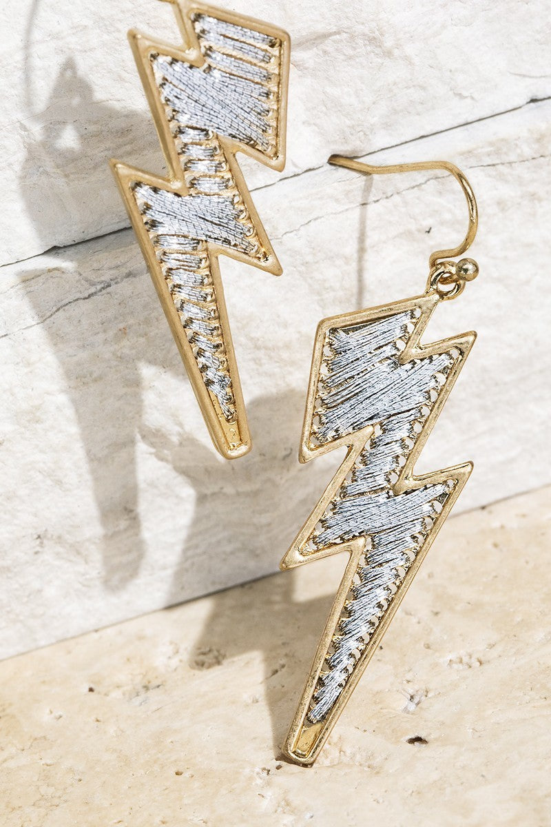 Silver Fine Thread Lightning Bolt Fish Hook Dangle Earrings - STEVEN WICK