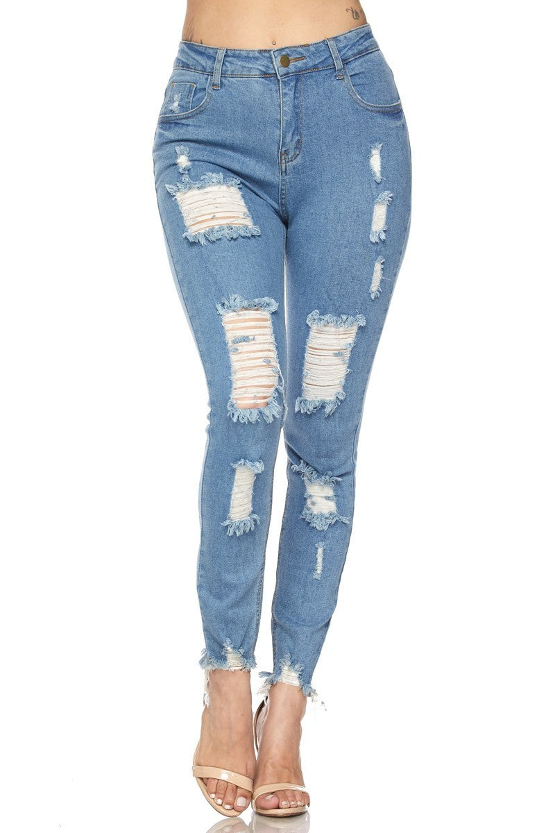 Denim Ripped Destroyed Ankle Length Skinny Jeans - STEVEN WICK