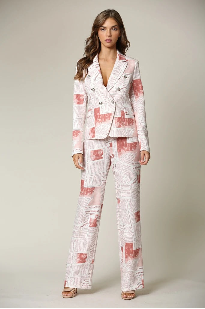 Mix & Match Two Piece Scarlett Blush Dressy Pant Suit Set - STEVEN WICK