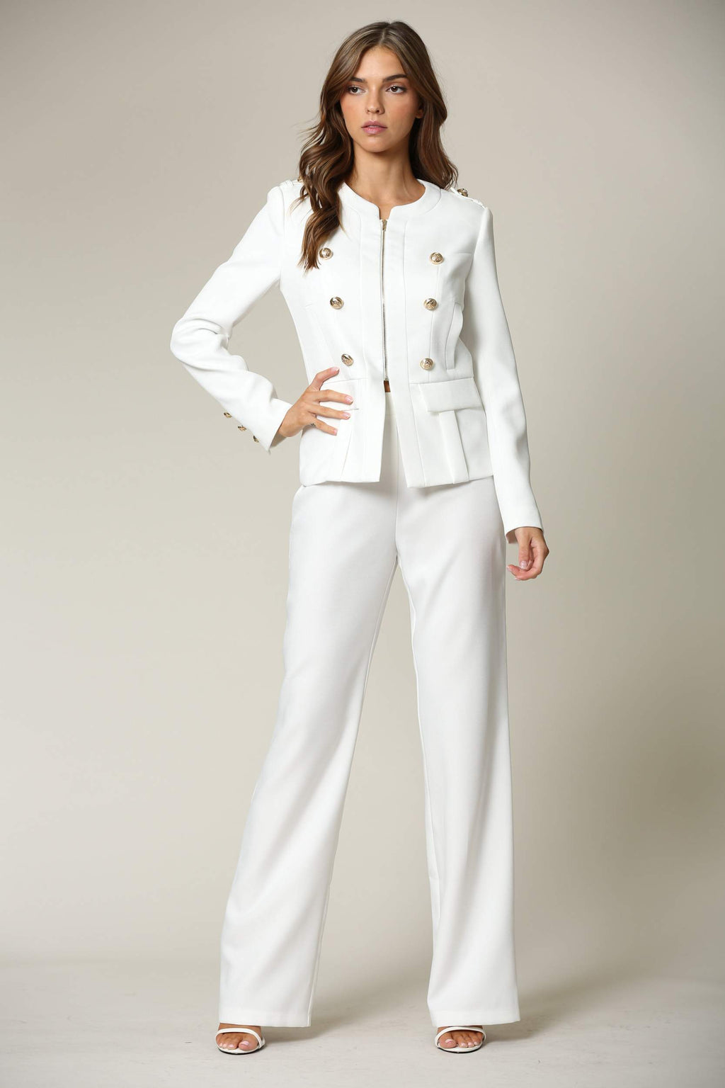 Mix & Match Two Piece Tailored Pant Suit - White - STEVEN WICK