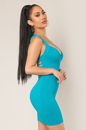 Strappy Braided Back Sweetheart Bandage Dress - STEVEN WICK