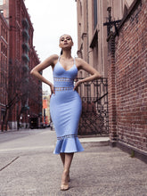 Load image into Gallery viewer, Clarissa Light Blue Bandage Dress - stevenwick