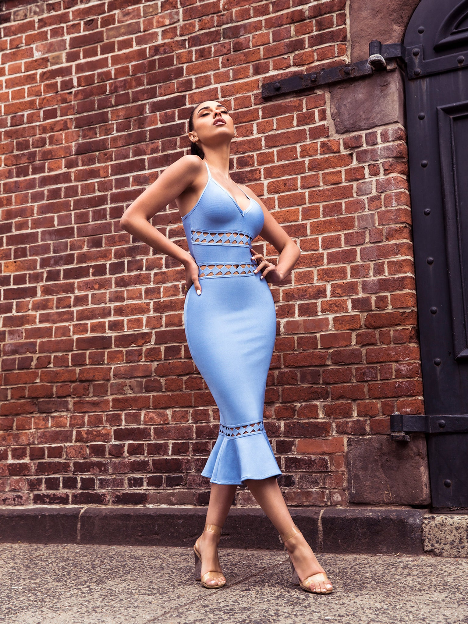Clarissa Light Blue Bandage Dress - STEVEN WICK