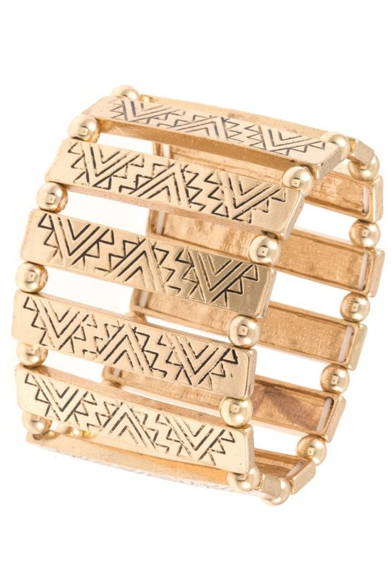 Etched Pattern Stretch Gold Bracelet - steven wick