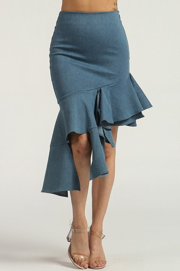 High Waist Denim Ruffle Skirt - steven wick