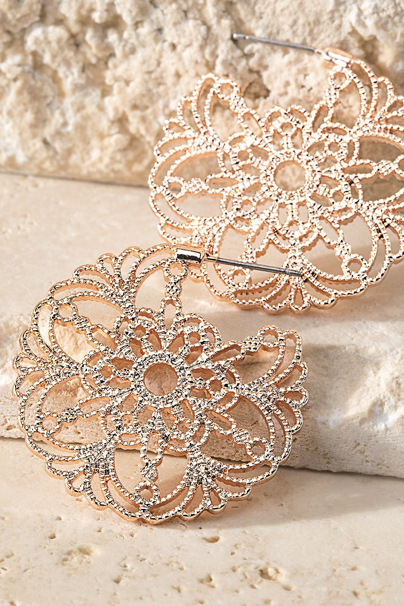 Rose Gold Filigree Flower Hoop Earrings - STEVEN WICK