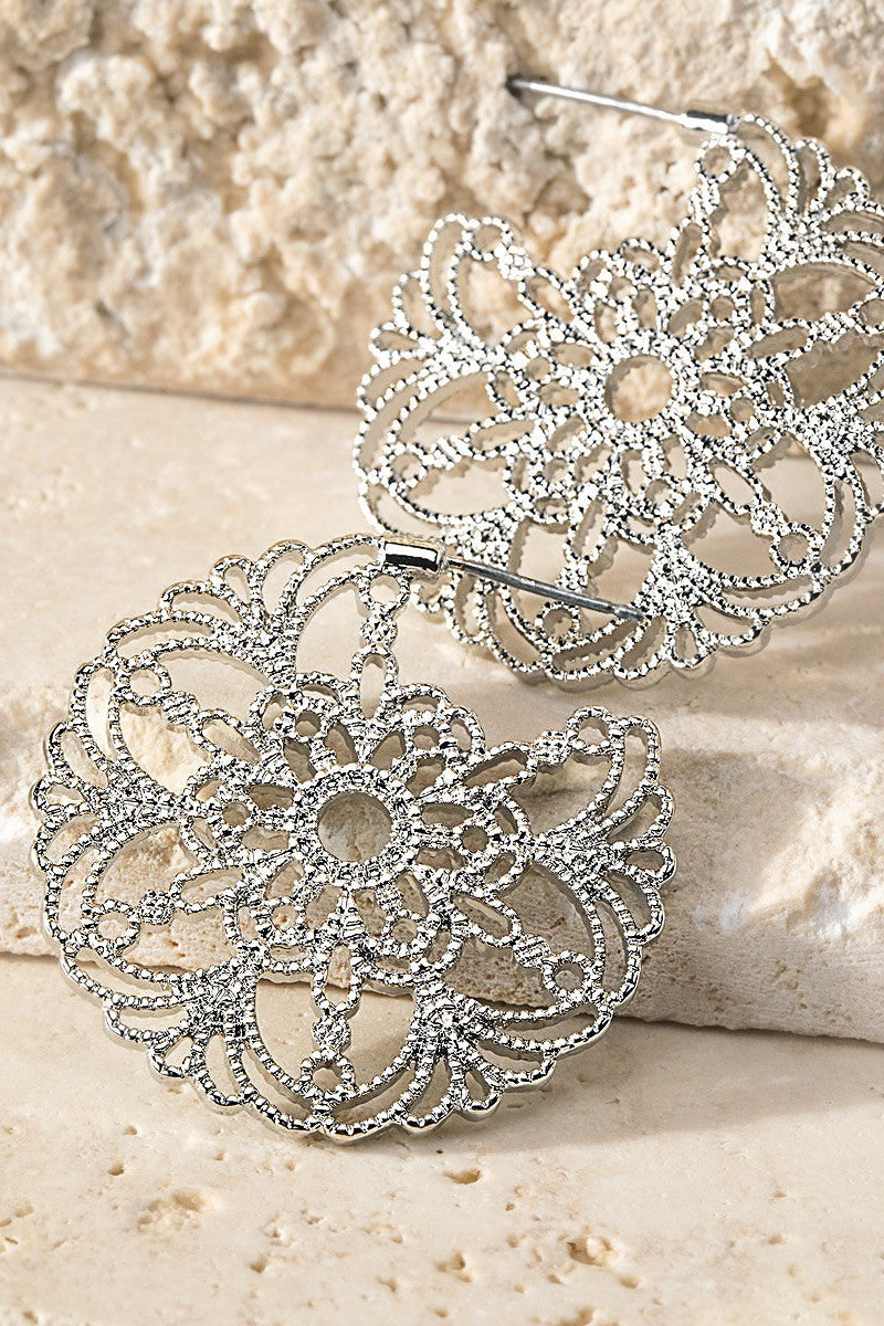 Silver Filigree Flower Hoop Earrings - STEVEN WICK