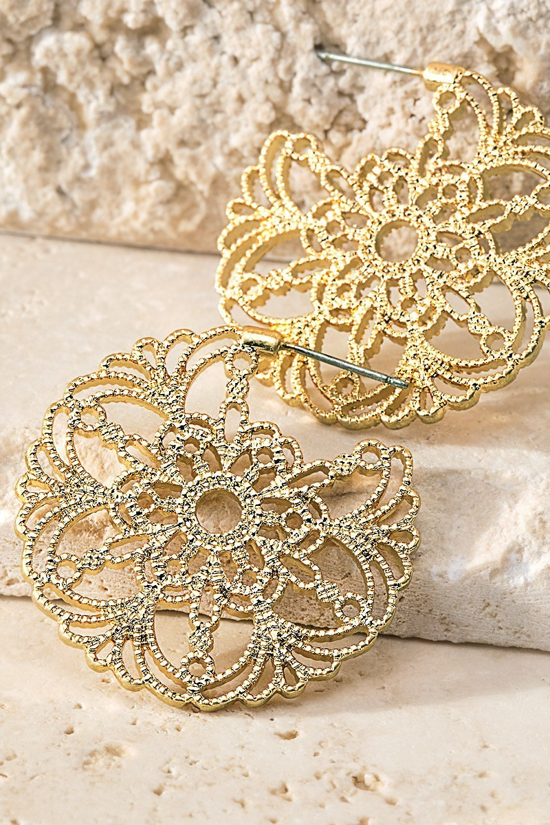 Gold Filigree Flower Hoop Earrings - STEVEN WICK