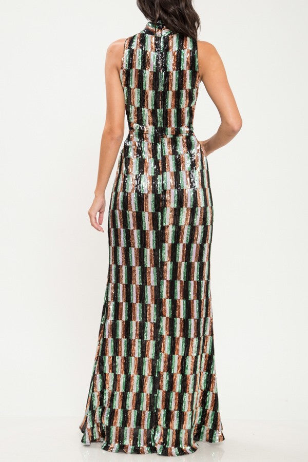 Multi Color Sequin Criss Cross Pattern Gown - STEVEN WICK