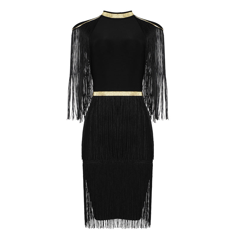 Roxy Black And Gold Bandage Dress With Tassels - STEVEN WICK