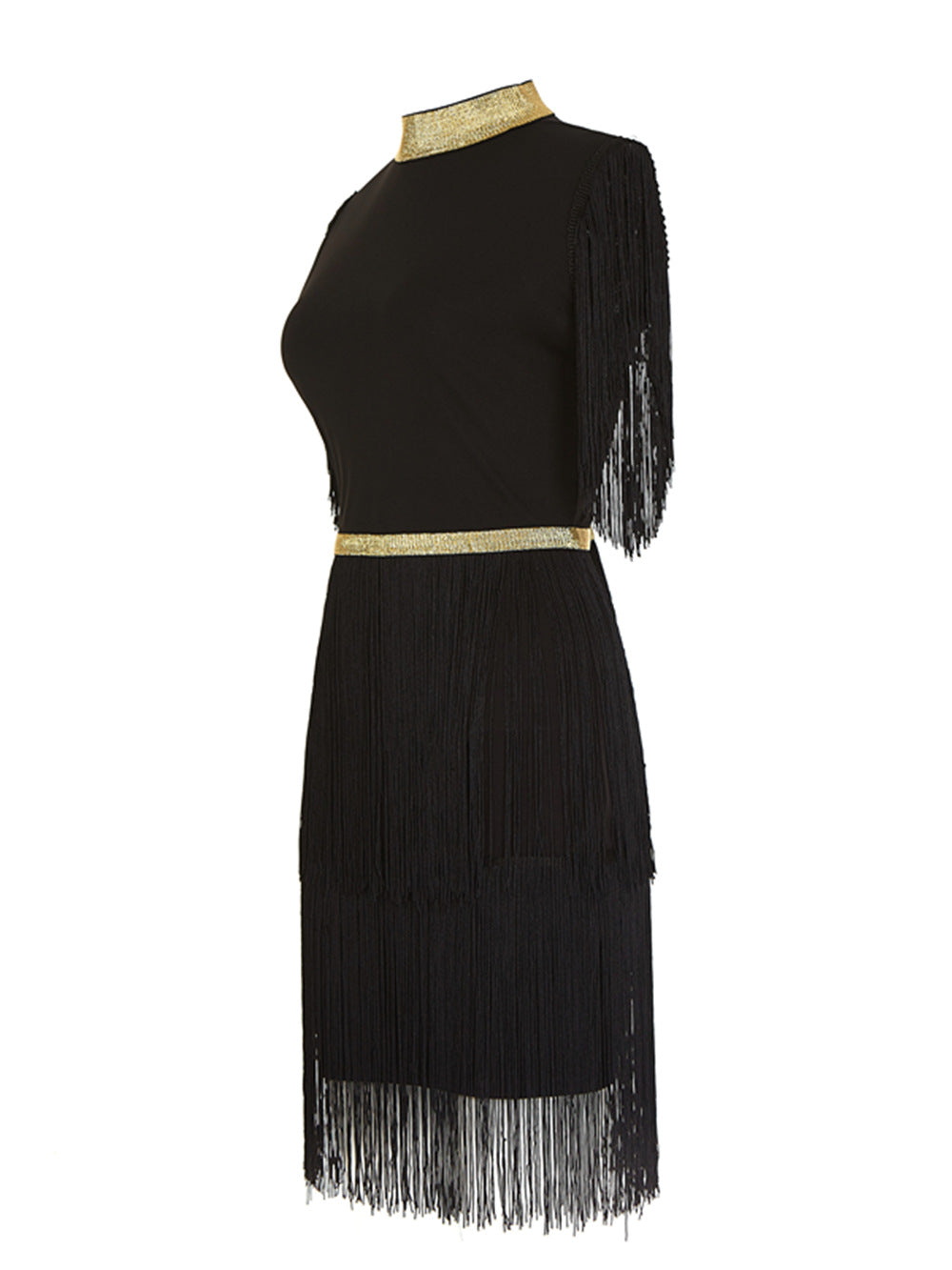 Black And Gold Bandage Dress With Tassels - STEVEN WICK