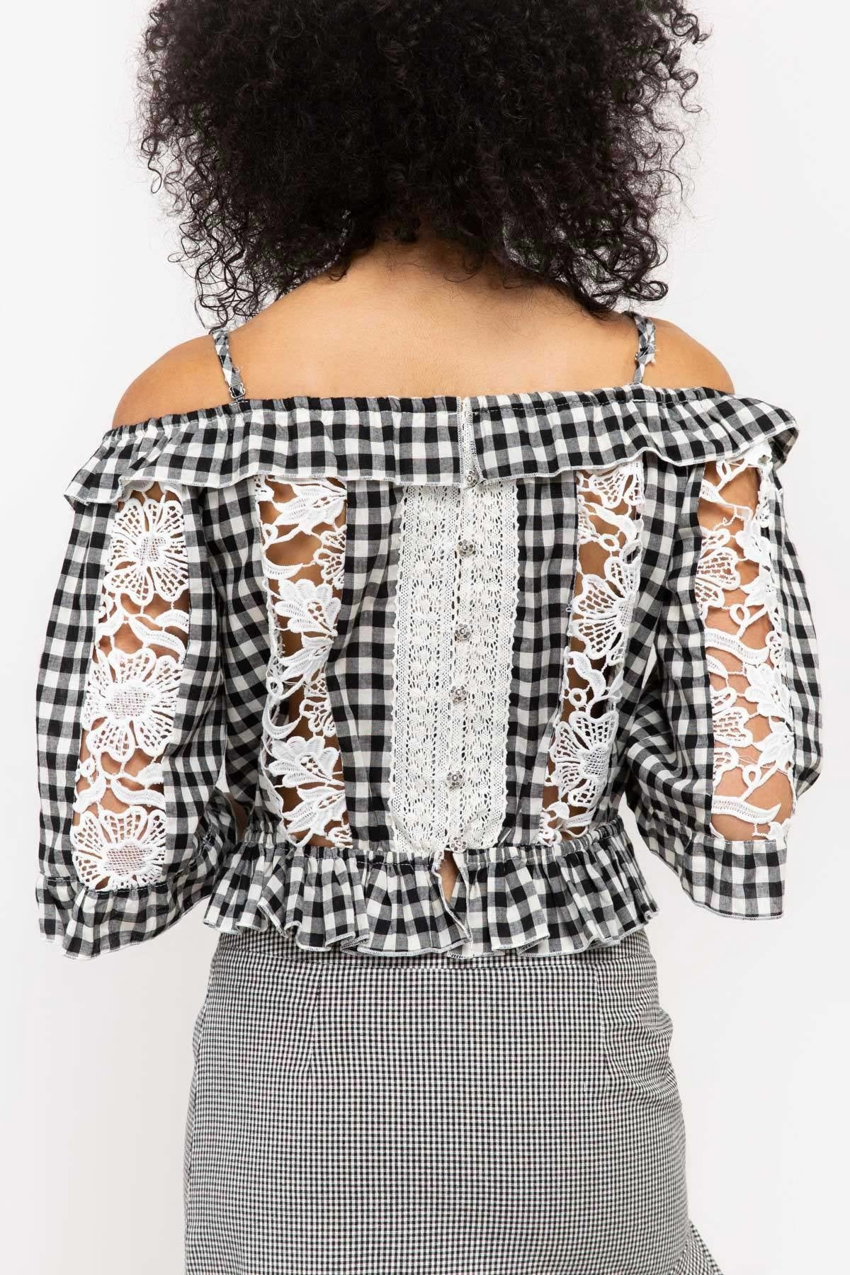 Gingham Crop Top With Crochet Lace Insets - STEVEN WICK