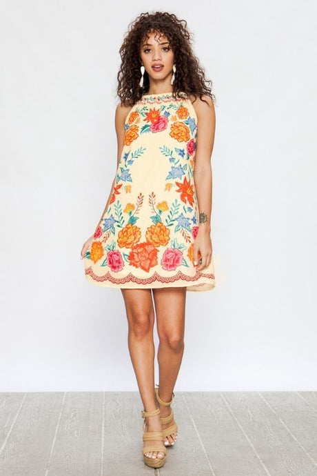 Ivory Shift Floral Print Dress - steven wick