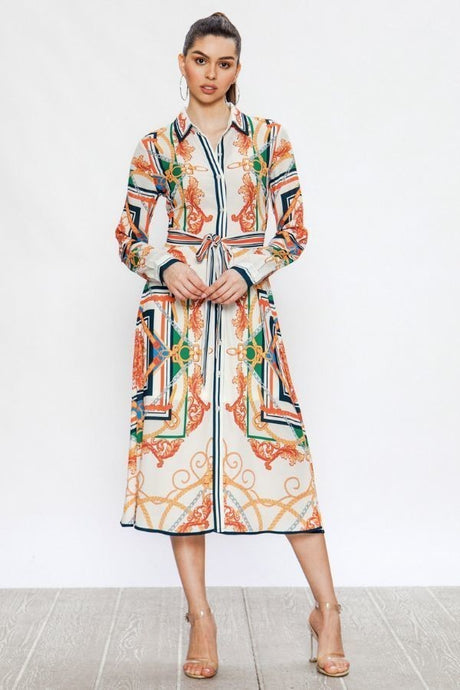 Midi Shirt Dress With Baroque Print - stevenwick