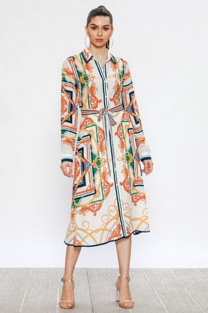 Madrid Off-White Midi Shirt Dress With Baroque Print - STEVEN WICK