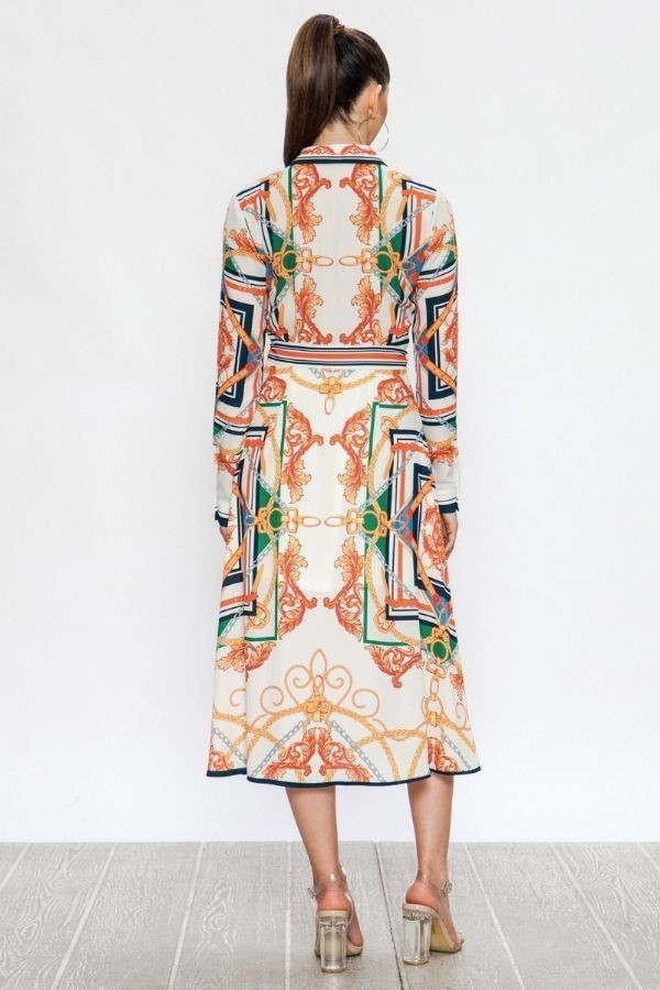 Midi Shirt Dress With Baroque Print - STEVEN WICK