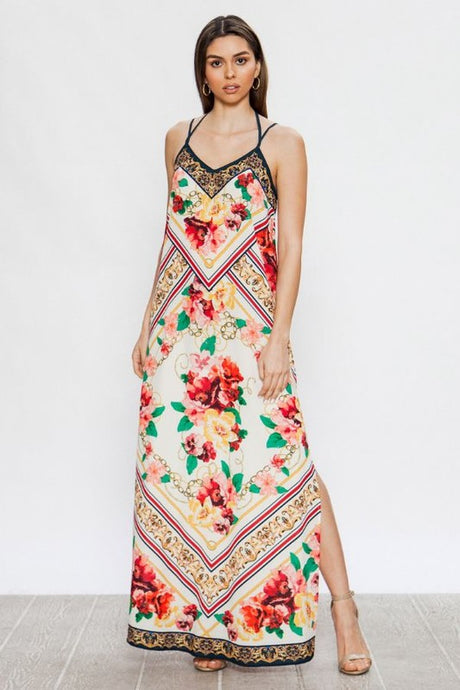 V Neck Ivory Print Maxi Dress - stevenwick