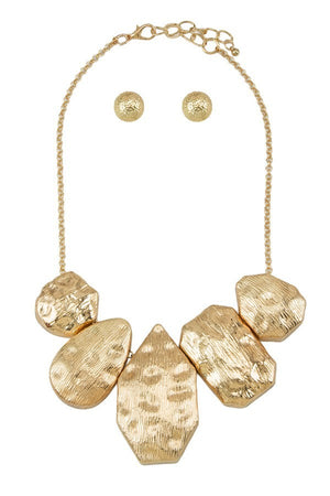 Gold Hammered Metal Statement Necklace Set - STEVEN WICK