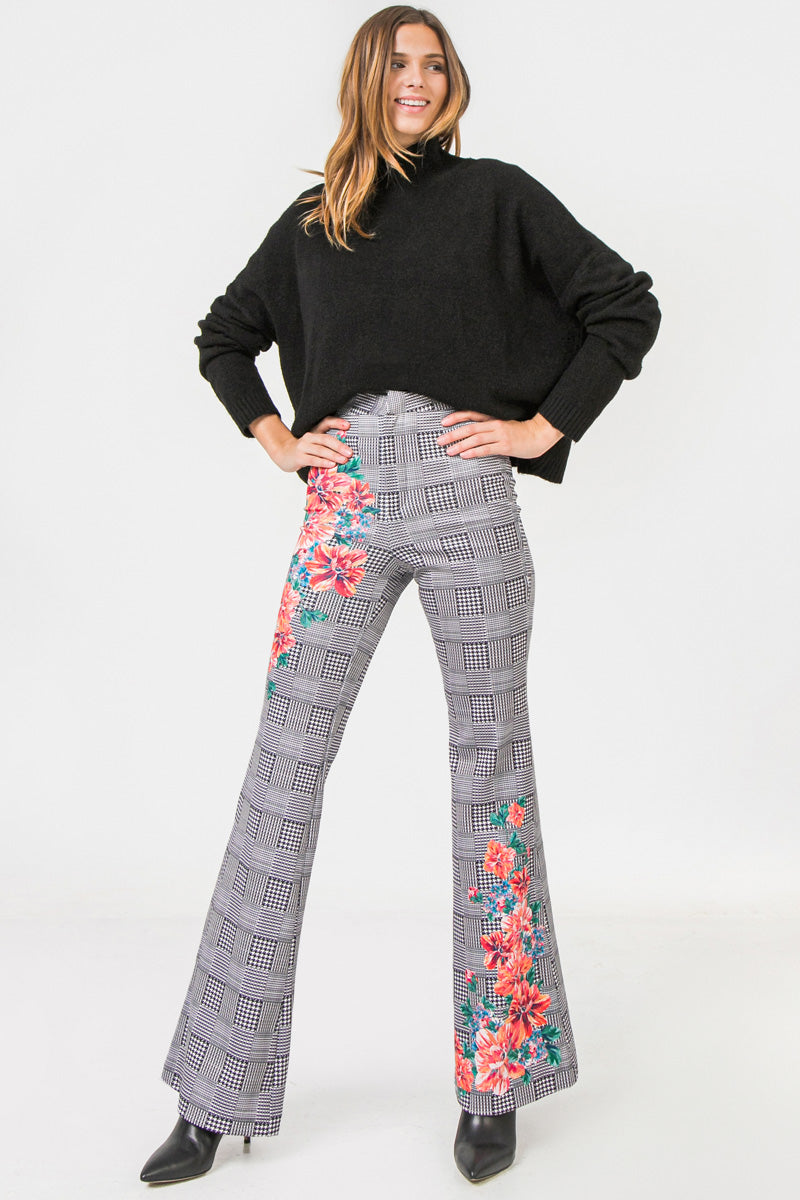 Ivory Flared Scuba Pants With Houndstooth and Floral Print - STEVEN WICK