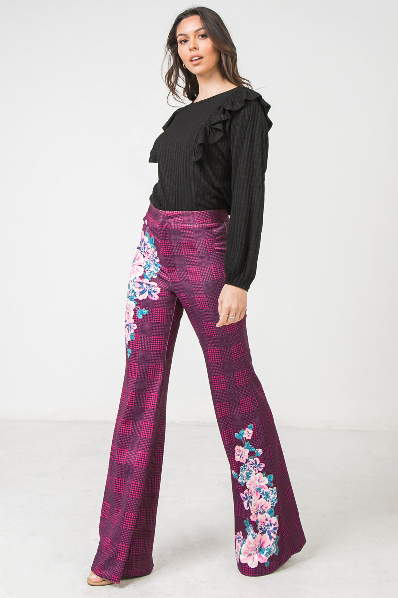 Magenta Flared Scuba Pants With Houndstooth and Floral Print - STEVEN WICK