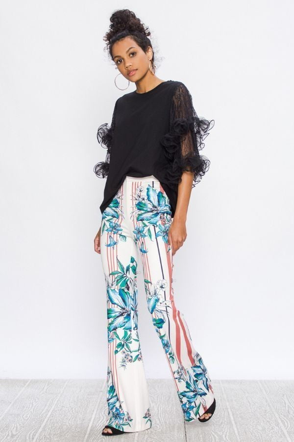 Women's Multi-Colored Floral Flare Print Pants - STEVEN WICK