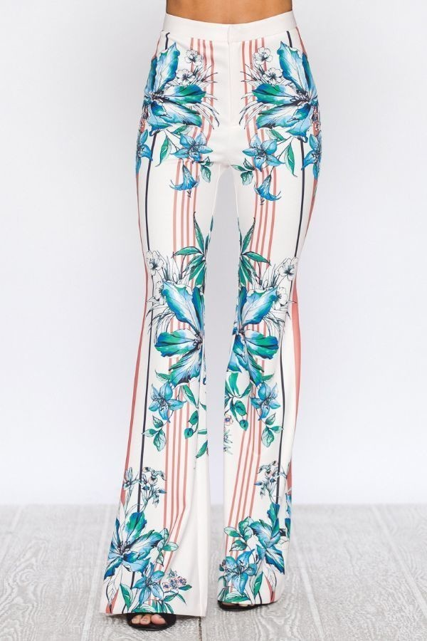 Multi-Colored Flared Print Pants - STEVEN WICK