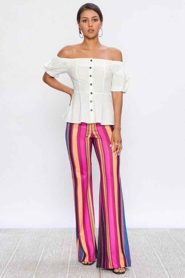 Flared Scuba Multi-Colored Strip Print Pant - STEVEN WICK