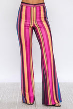 Load image into Gallery viewer, Flared Scuba Multi-Colored Strip Print Pant - steven wick