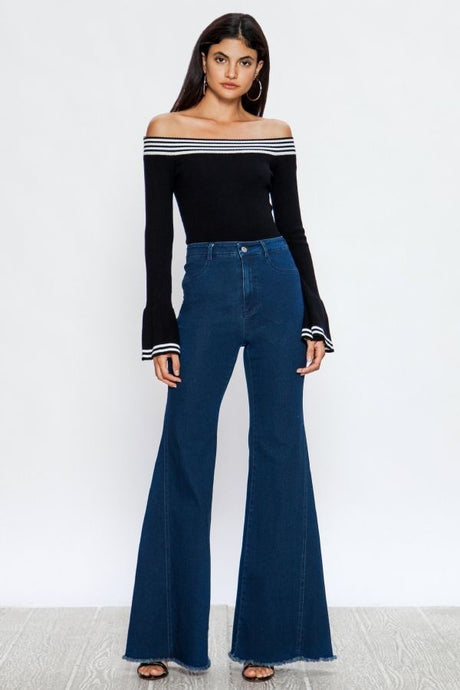 High Waisted Flare Denim Pants - stevenwick