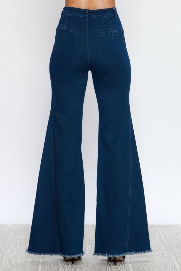 High Waisted Flare Denim Pants - steven wick