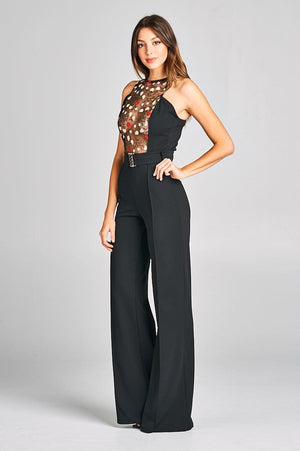 Embroidered Lace Top Jumpsuit With Belt Detail - STEVEN WICK