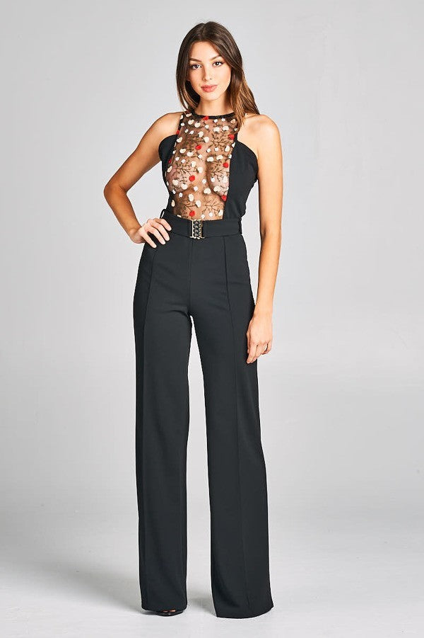 Embroidered Lace Top Jumpsuit With Belt Detail