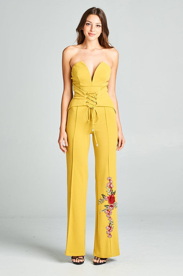 Heart Shape Tube Top Jumpsuit With Flower Embroidery