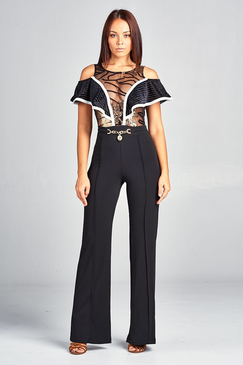 Cold Shoulder Jumpsuit With Lace And Gold Trim Detail