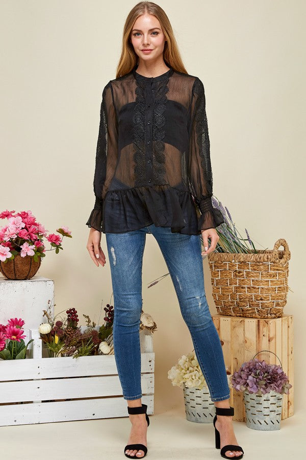 Sheer Chiffon Casual Blouse Button Down Top - STEVEN WICK