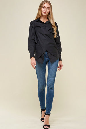 Black Crossover Woven Buttoned Casual Shirt Top - STEVEN WICK