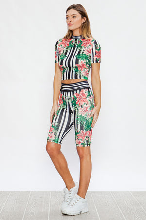 Black Tropical Striped Top And Biker Short Matching Set Print - STEVEN WICK