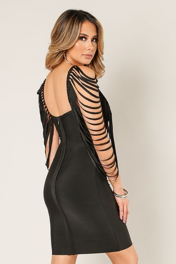 Jaris Fringe Sleeveless Bandage Dress - STEVEN WICK