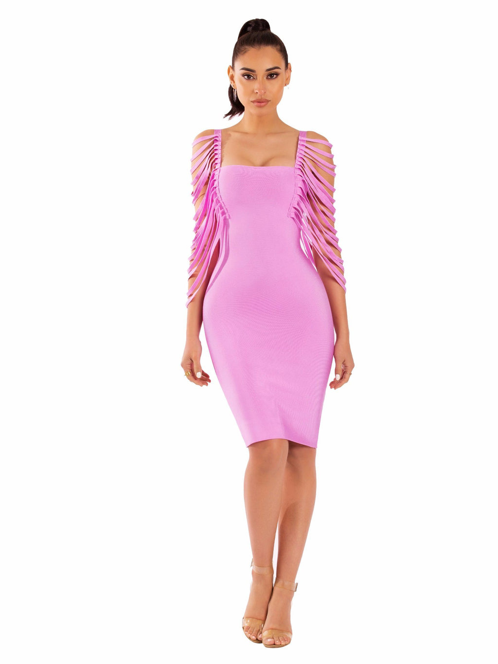 Blush Pink Jaris Fringe Sleeveless Bandage Dress - STEVEN WICK