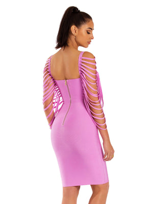 Pink Jaris Fringe Sleeveless Bandage Dress - STEVEN WICK