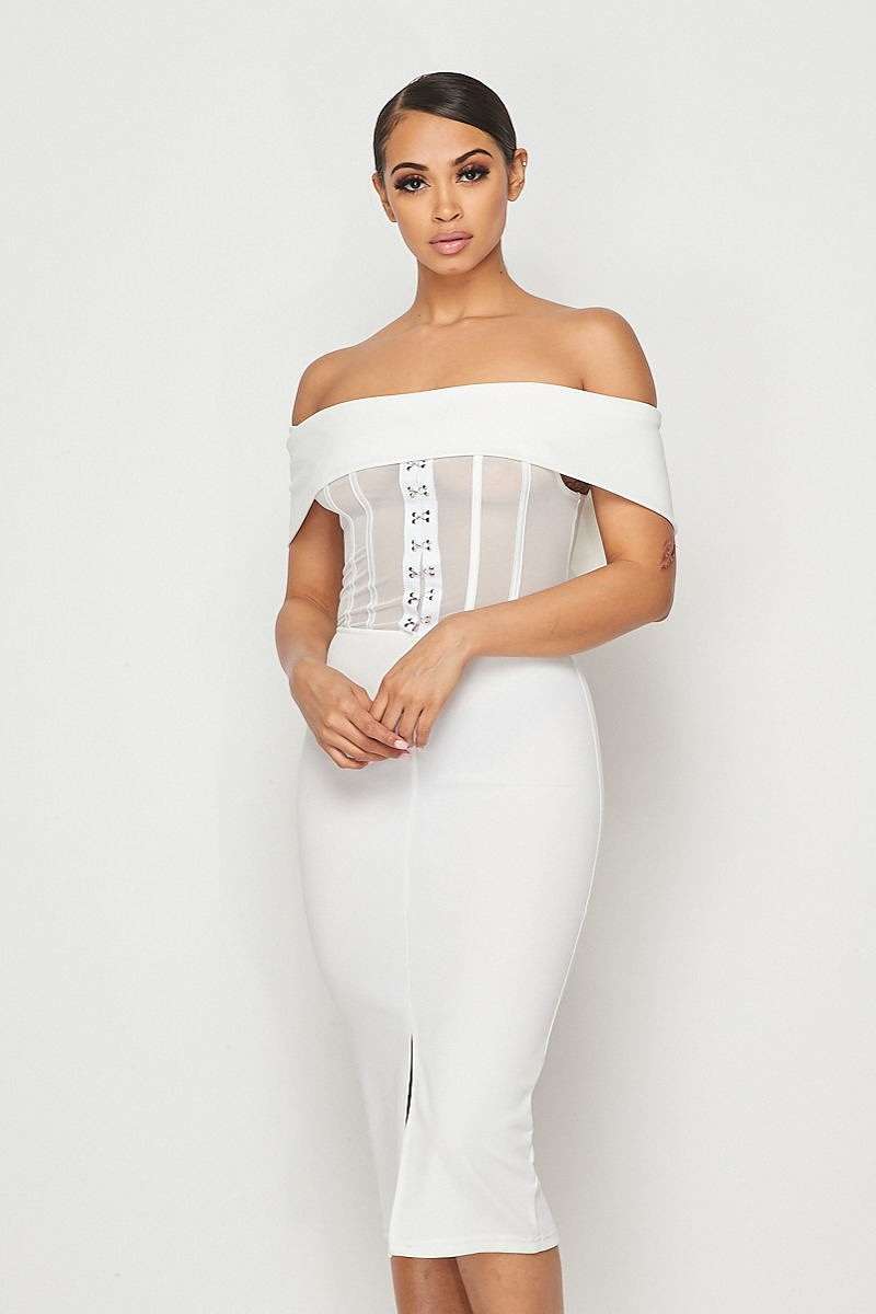 White Mesh Hook & Eye Off Shoulder Bodycon Midi Dress - STEVEN WICK
