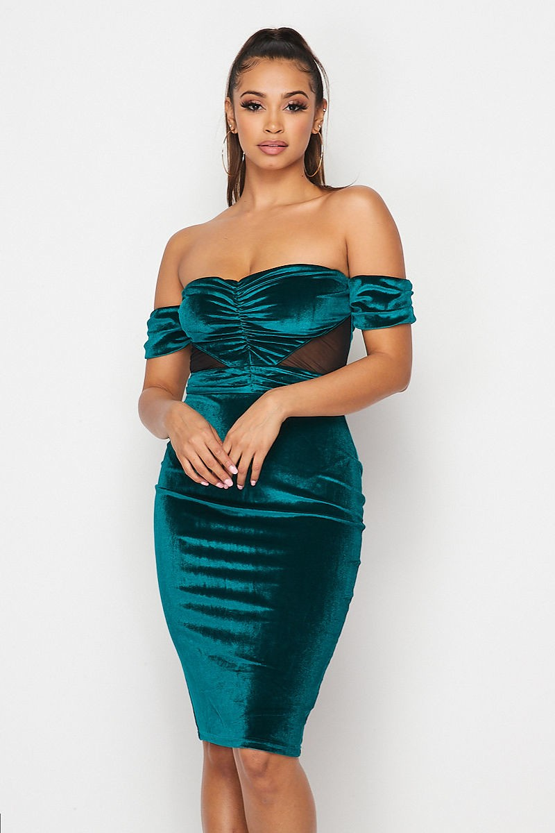 Emerald Green Off Shoulder Bodycon Velvet Dress - STEVEN WICK