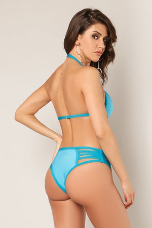 Two Piece Strappy Two Toned Bandage Swim Set - STEVEN WICK