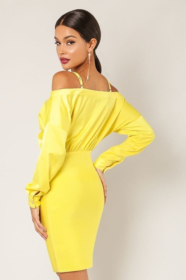 Yellow Front Tie Off The Shoulder Bandage Dress - STEVEN WICK