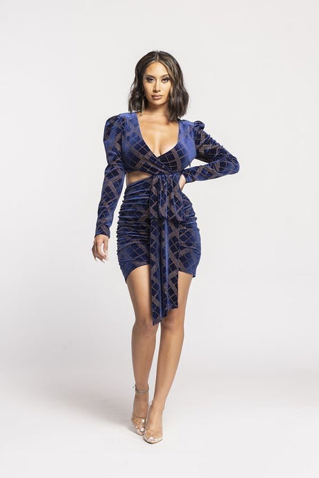 Navy Front Tie Long Sleeve Velvet Mini Dress - steven wick